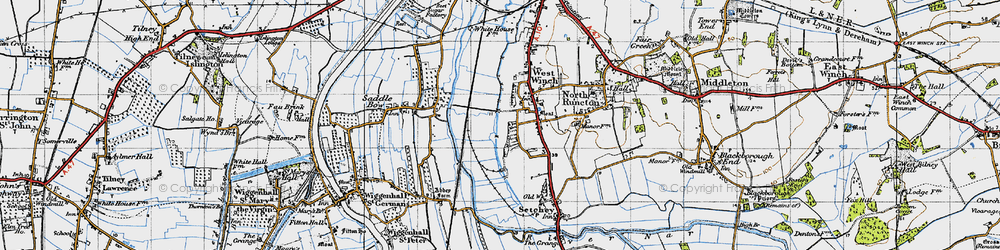 Old map of West Winch in 1946