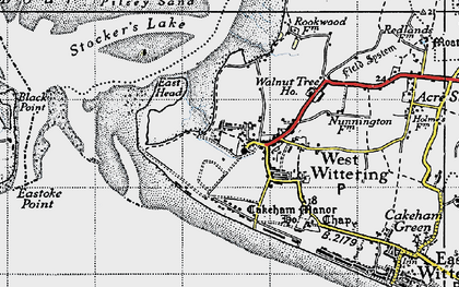 Old map of West Wittering in 1945