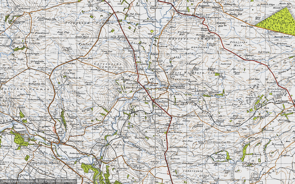 Old Map of Historic Map covering Woodhouse in 1947