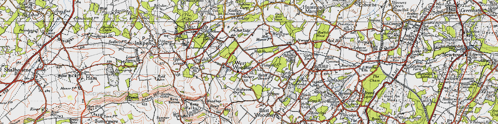 Old map of West Woodhay in 1945