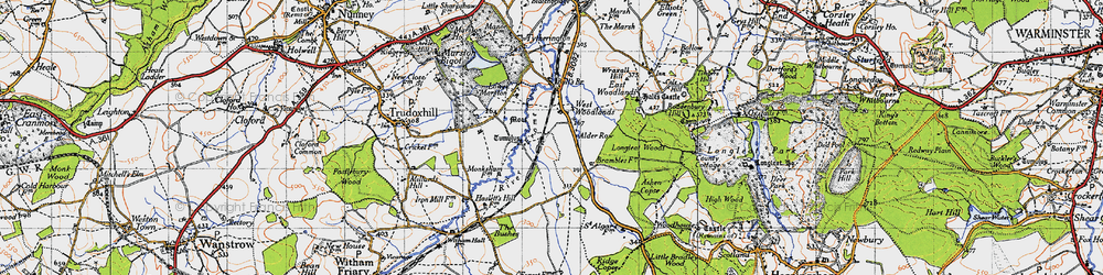 Old map of West Woodlands in 1946