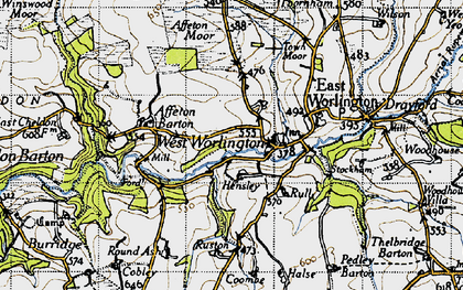 Old map of Affeton Moor in 1946