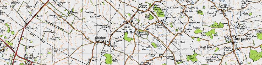 Old map of West Wratting in 1946