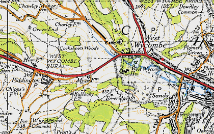 Old map of West Wycombe in 1947