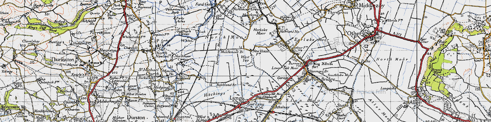 Old map of West Yeo in 1945