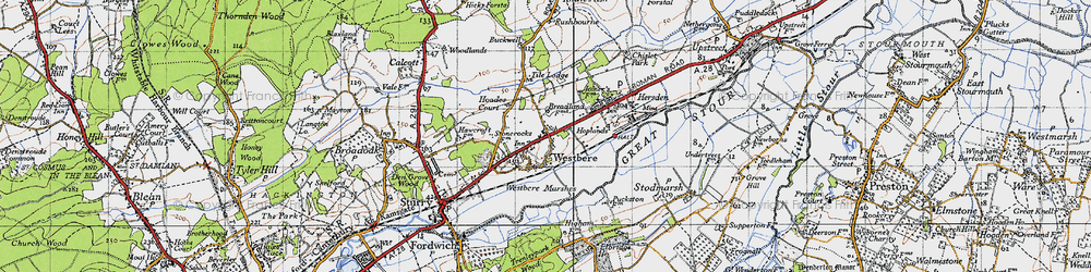 Old map of Westbere in 1947