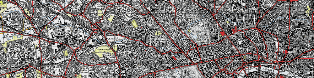 Old map of Westbourne Green in 1945