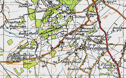 Old map of Westbrook in 1940