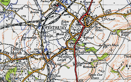 Old map of Westbury in 1946