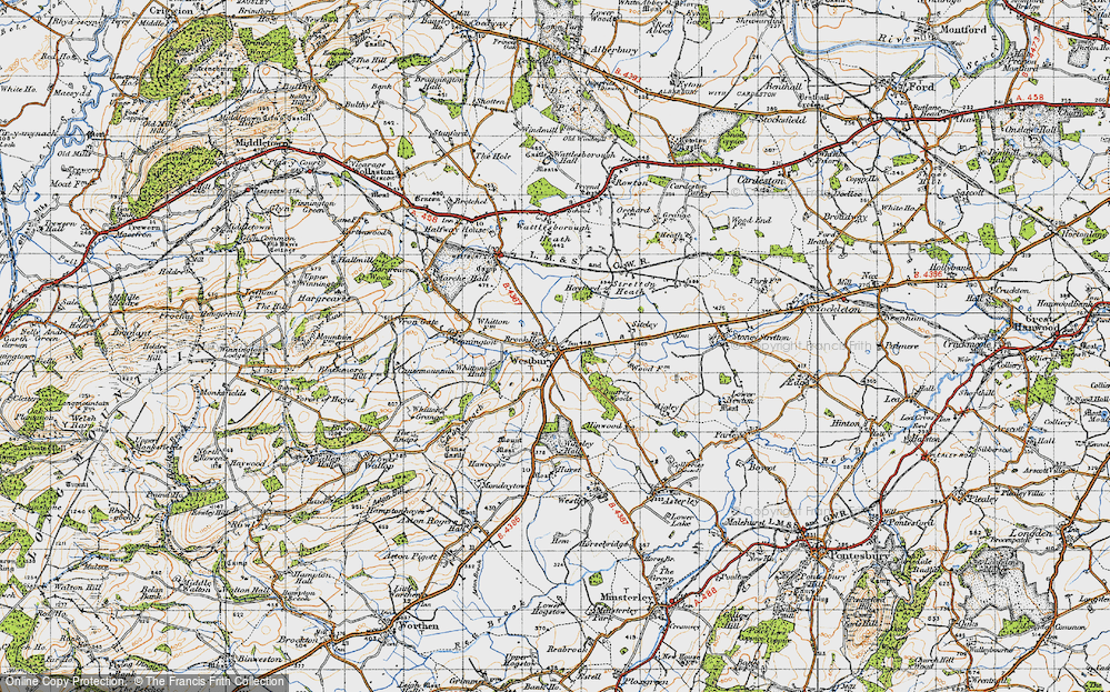 Old Map of Westbury, 1947 in 1947