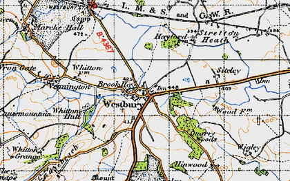 Old map of Westbury in 1947