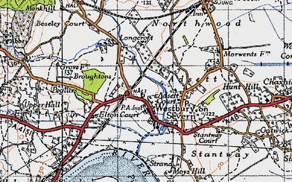 Old map of Adsett in 1947