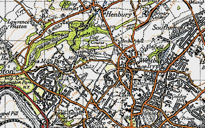 Old map of Westbury on Trym in 1946