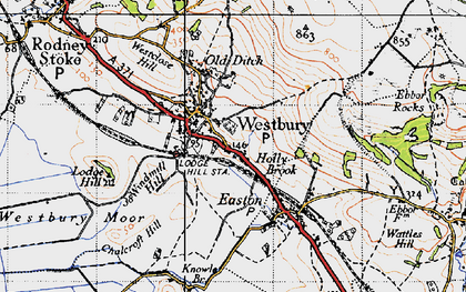 Old map of Westbury-sub-Mendip in 1946