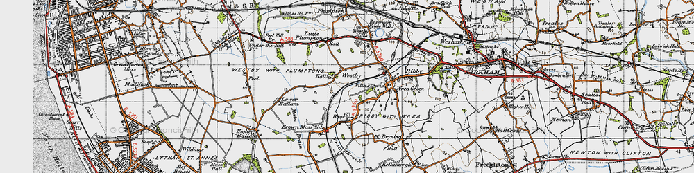 Old map of Westby in 1947