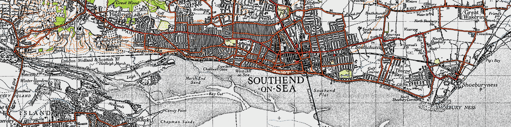 Old map of Westcliff-on-Sea in 1946