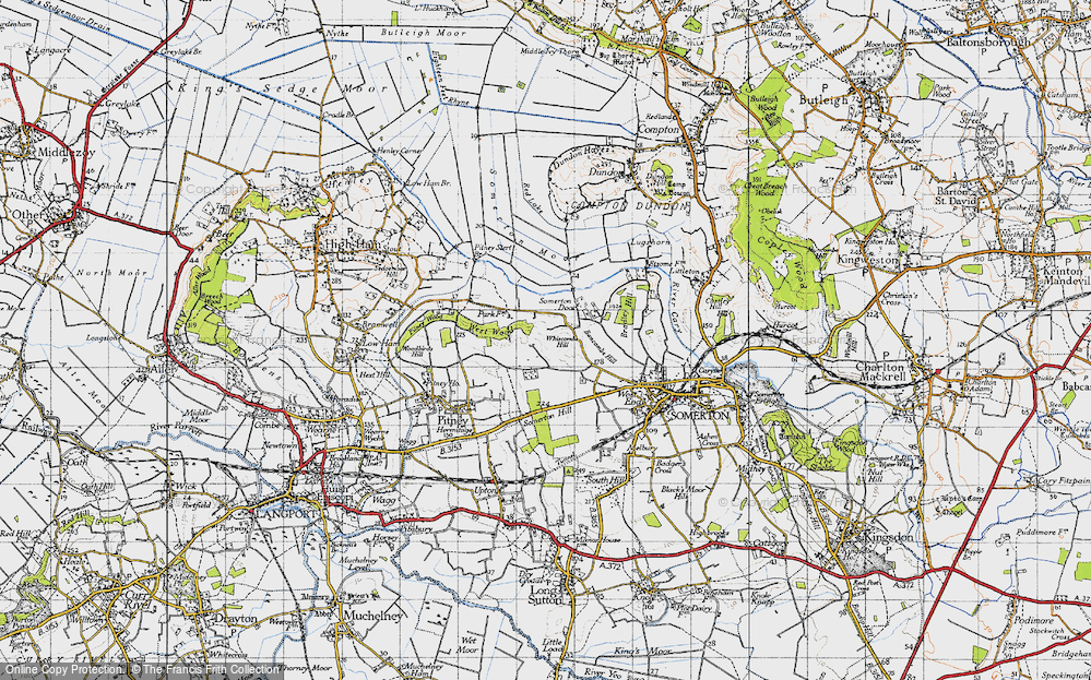 Old Map of Historic Map covering Bancombe Hill in 1945