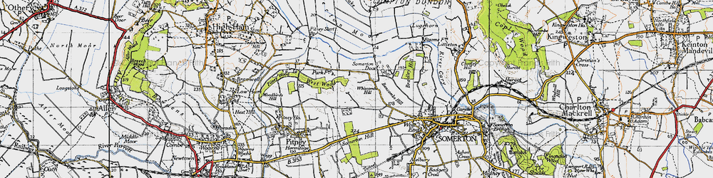 Old map of Whiscombe Hill in 1945