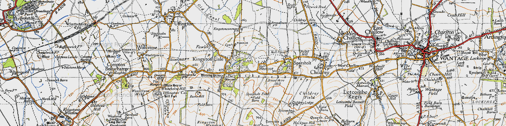 Old map of Westcot in 1947
