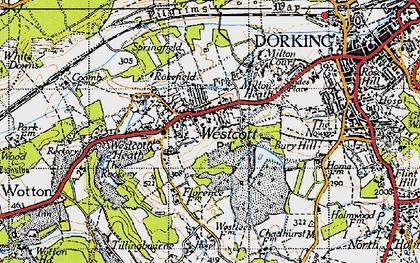 Old map of Westcott in 1940