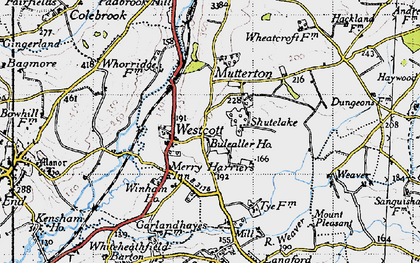 Old map of Westcott in 1946