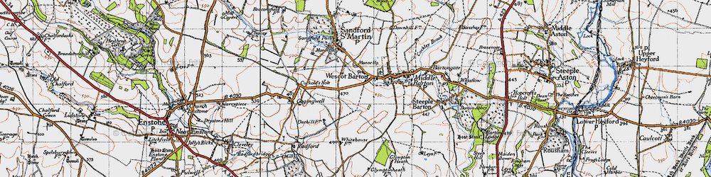 Old map of Westcott Barton in 1946