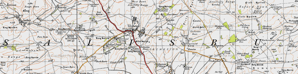 Old map of Westdown Camp in 1940