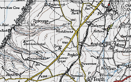 Old map of Westdowns in 1946