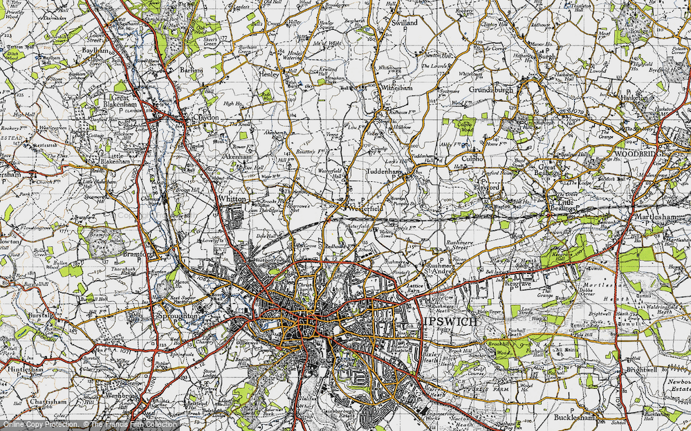 Old Map of Westerfield, 1946 in 1946