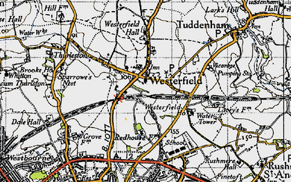 Old map of Westerfield in 1946