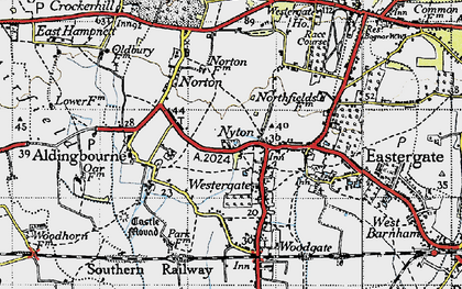 Old map of Westergate in 1945