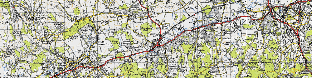 Old map of Westerham Wood in 1946