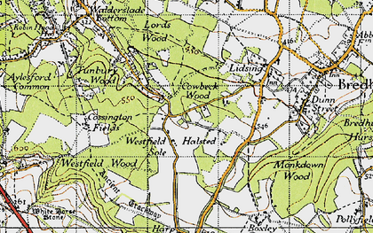 Old map of Westfield Sole in 1946