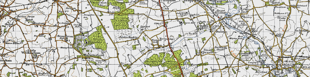 Old map of Westgate Street in 1945