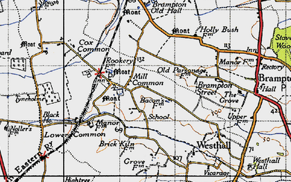 Old map of Westhall in 1946