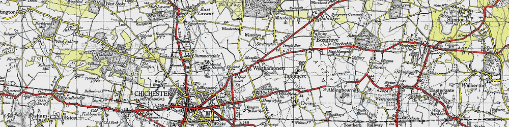 Old map of Westhampnett in 1945