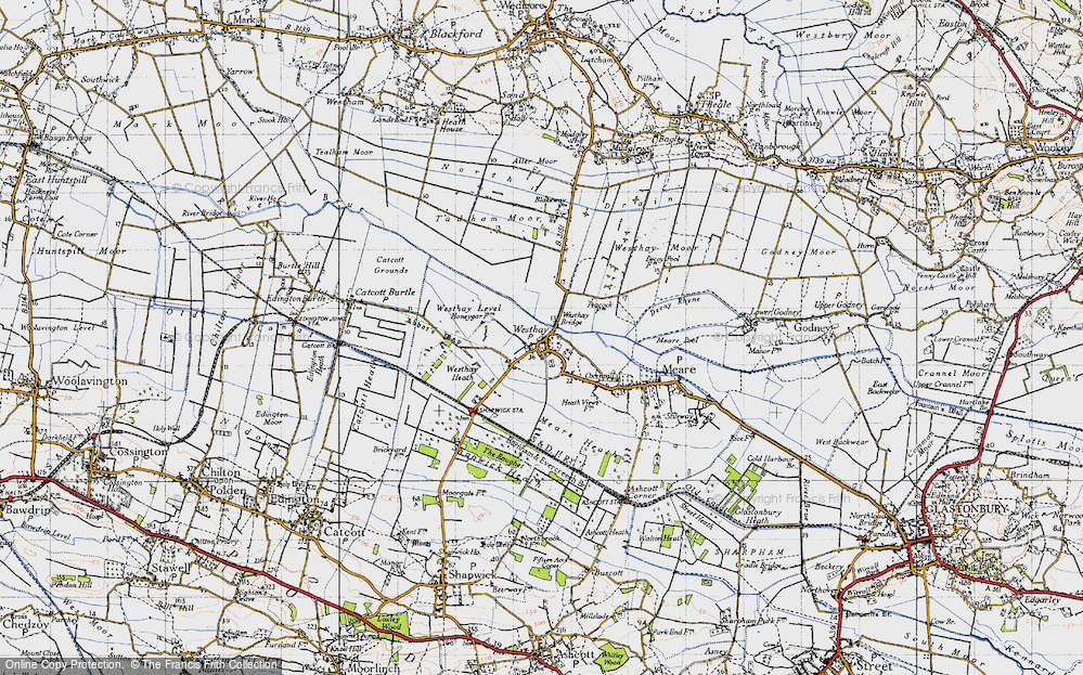 Old Map of Historic Map covering Westhay Heath in 1946