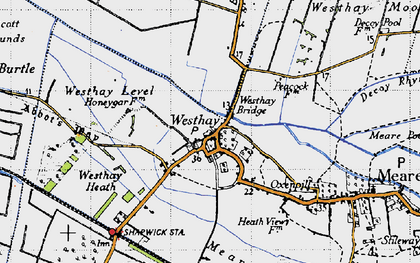 Old map of Westhay Level in 1946