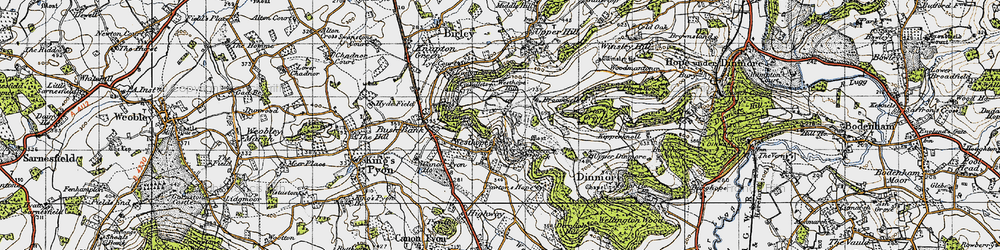 Old map of Westhope Hill in 1947