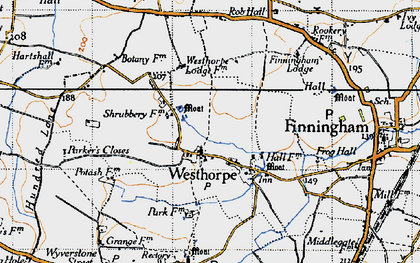 Old map of Westhorpe in 1946