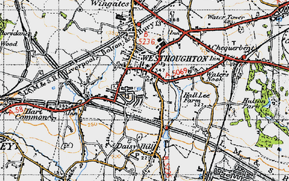 Old map of Westhoughton in 1947