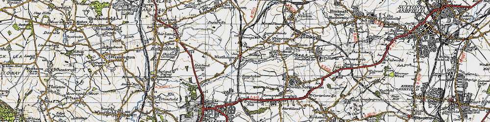 Old map of Alfreton & Mansfield Parkway Station in 1947