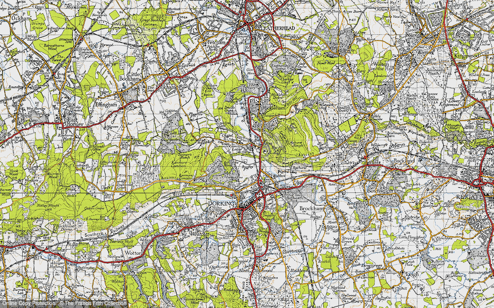 Old Map of Historic Map covering Ashcombe Wood in 1940