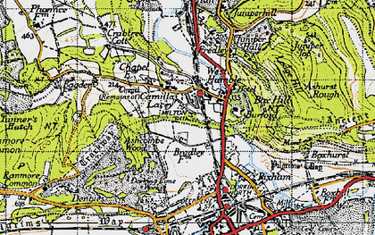 Old map of Ashcombe Wood in 1940