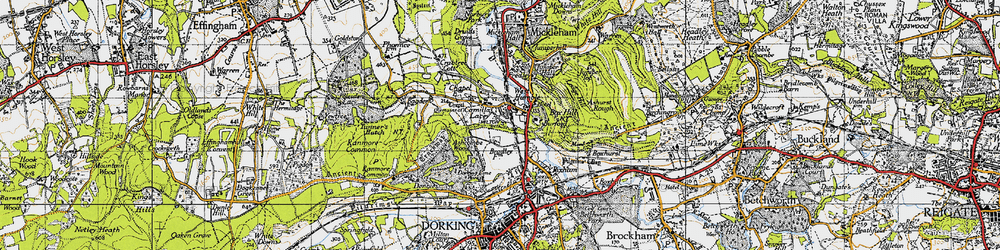 Old map of Westhumble in 1940