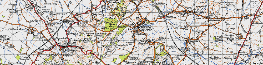 Old map of Westington in 1946