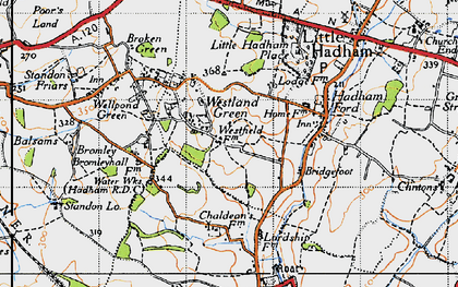 Old map of Westland Green in 1946