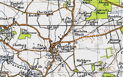 Old map of Westleton in 1946