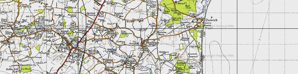Old map of Westleton Heath in 1946