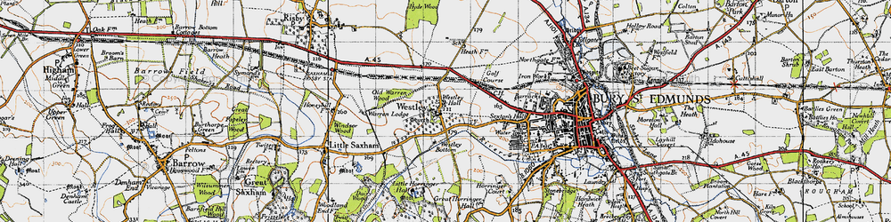 Old map of Westley in 1946